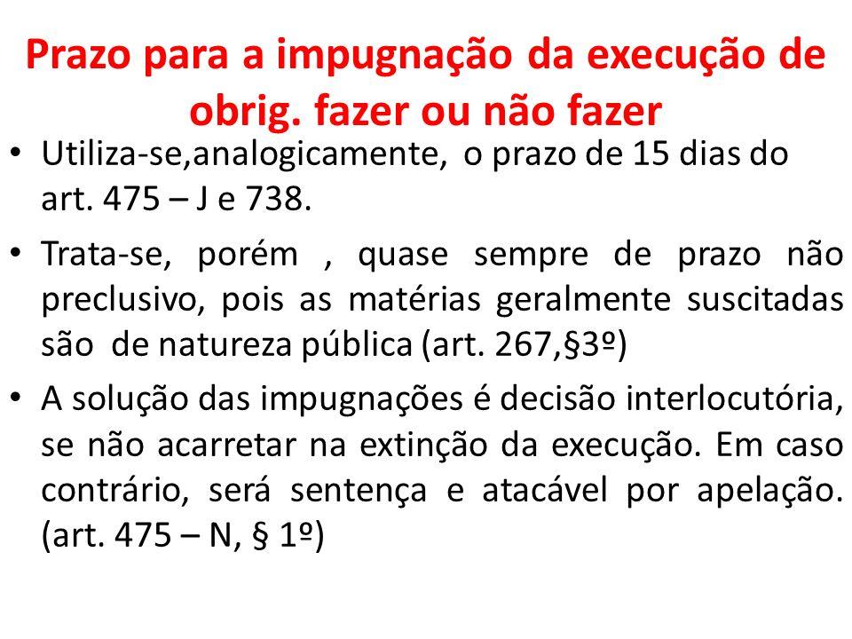 Prazo para a impugnação da execução de obrig. fazer ou não fazer