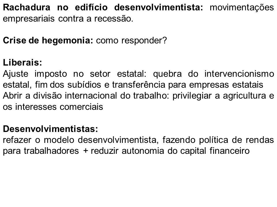 Rachadura no edifício desenvolvimentista: movimentações empresariais contra a recessão.