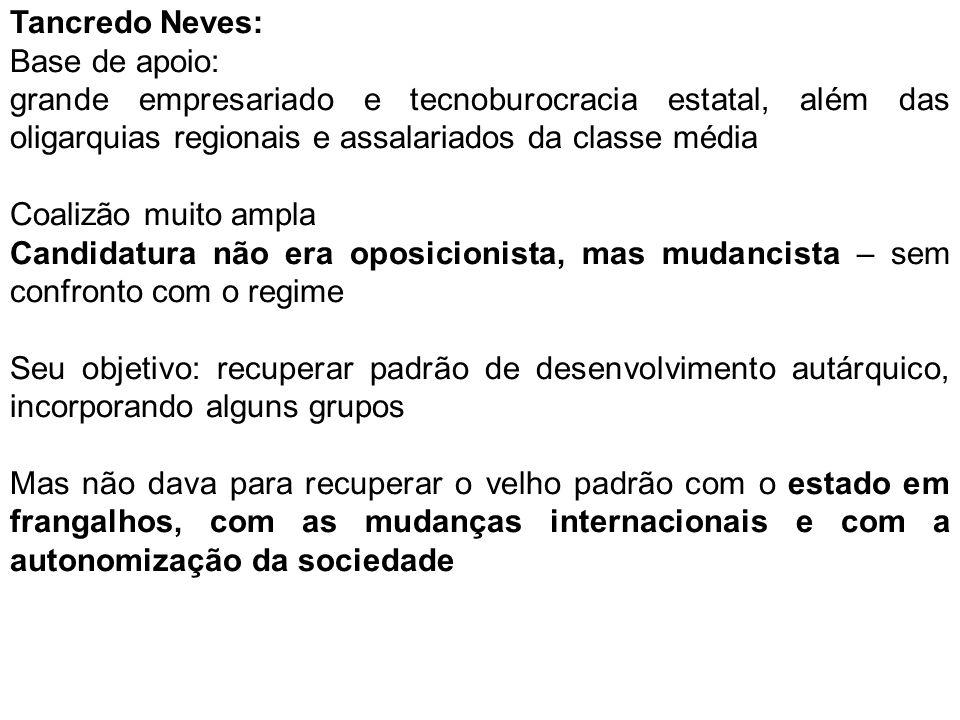 Tancredo Neves: Base de apoio: grande empresariado e tecnoburocracia estatal, além das oligarquias regionais e assalariados da classe média.