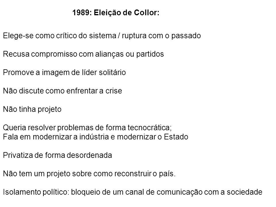 1989: Eleição de Collor: Elege-se como crítico do sistema / ruptura com o passado. Recusa compromisso com alianças ou partidos.
