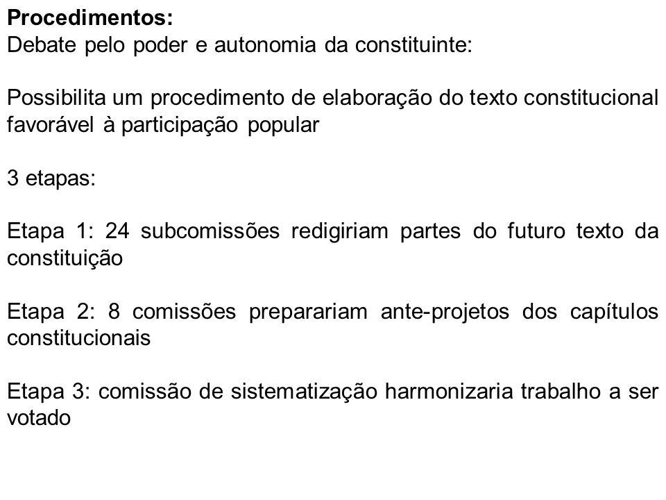 Procedimentos: Debate pelo poder e autonomia da constituinte: