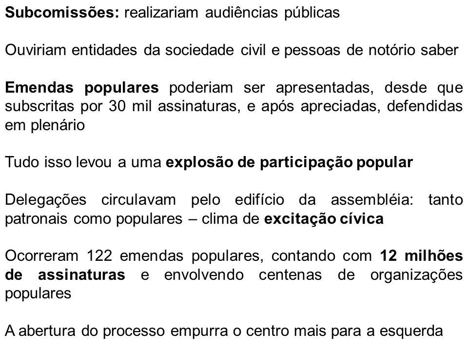 Subcomissões: realizariam audiências públicas