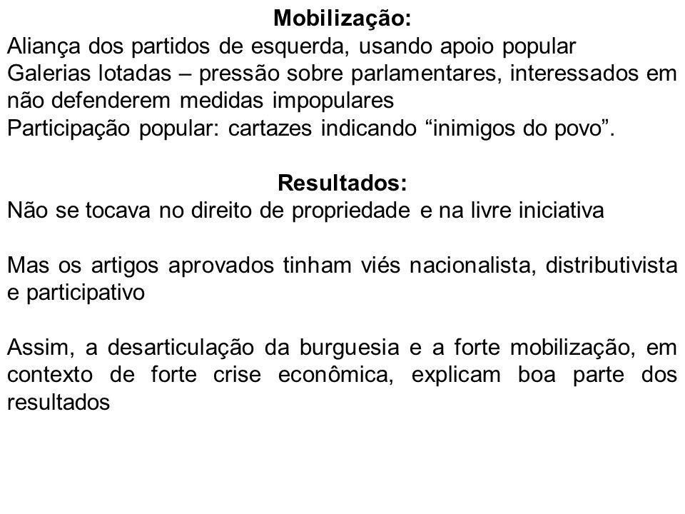 Mobilização: Aliança dos partidos de esquerda, usando apoio popular.