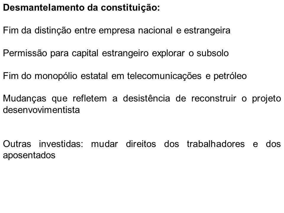 Desmantelamento da constituição: