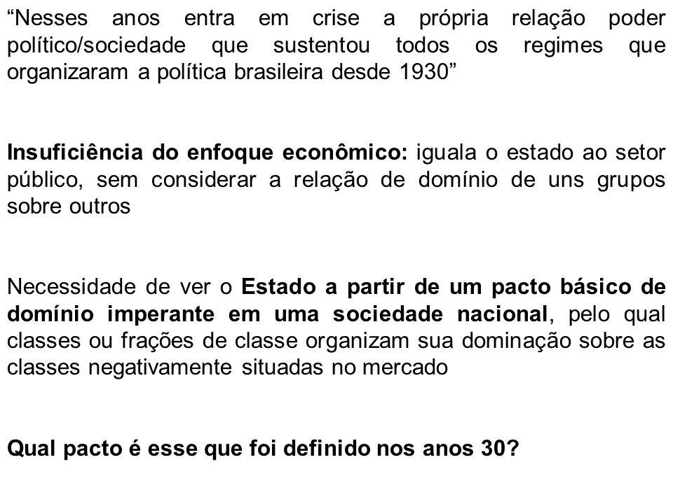 Nesses anos entra em crise a própria relação poder político/sociedade que sustentou todos os regimes que organizaram a política brasileira desde 1930