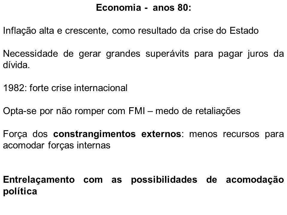 Economia - anos 80: Inflação alta e crescente, como resultado da crise do Estado.