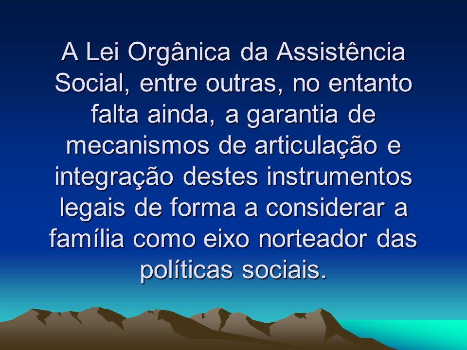 A Lei Orgânica da Assistência Social, entre outras, no entanto falta ainda, a garantia de mecanismos de articulação e integração destes instrumentos legais de forma a considerar a família como eixo norteador das políticas sociais.