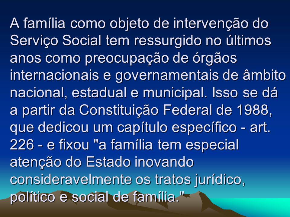 A família como objeto de intervenção do Serviço Social tem ressurgido no últimos anos como preocupação de órgãos internacionais e governamentais de âmbito nacional, estadual e municipal.