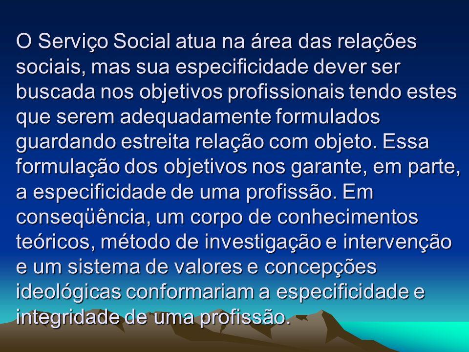 O Serviço Social atua na área das relações sociais, mas sua especificidade dever ser buscada nos objetivos profissionais tendo estes que serem adequadamente formulados guardando estreita relação com objeto.