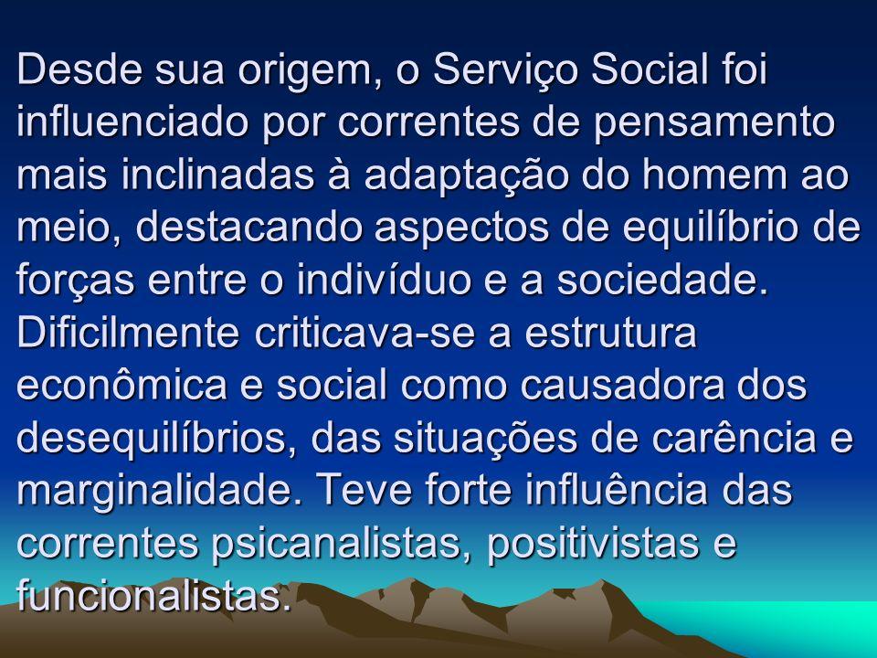 Desde sua origem, o Serviço Social foi influenciado por correntes de pensamento mais inclinadas à adaptação do homem ao meio, destacando aspectos de equilíbrio de forças entre o indivíduo e a sociedade.
