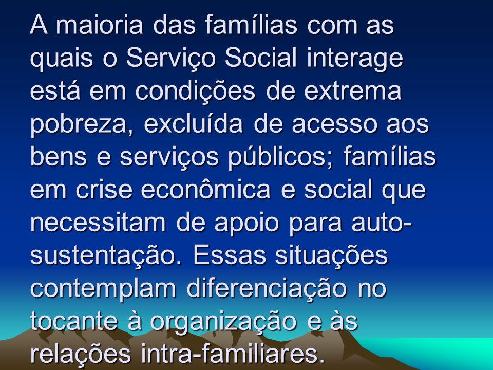 A maioria das famílias com as quais o Serviço Social interage está em condições de extrema pobreza, excluída de acesso aos bens e serviços públicos; famílias em crise econômica e social que necessitam de apoio para auto-sustentação.
