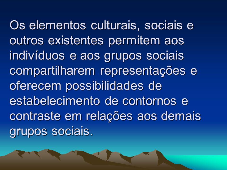 Os elementos culturais, sociais e outros existentes permitem aos indivíduos e aos grupos sociais compartilharem representações e oferecem possibilidades de estabelecimento de contornos e contraste em relações aos demais grupos sociais.