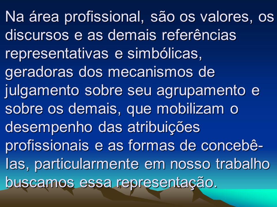 Na área profissional, são os valores, os discursos e as demais referências representativas e simbólicas, geradoras dos mecanismos de julgamento sobre seu agrupamento e sobre os demais, que mobilizam o desempenho das atribuições profissionais e as formas de concebê-Ias, particularmente em nosso trabalho buscamos essa representação.