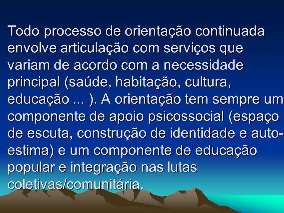 Todo processo de orientação continuada envolve articulação com serviços que variam de acordo com a necessidade principal (saúde, habitação, cultura, educação ...