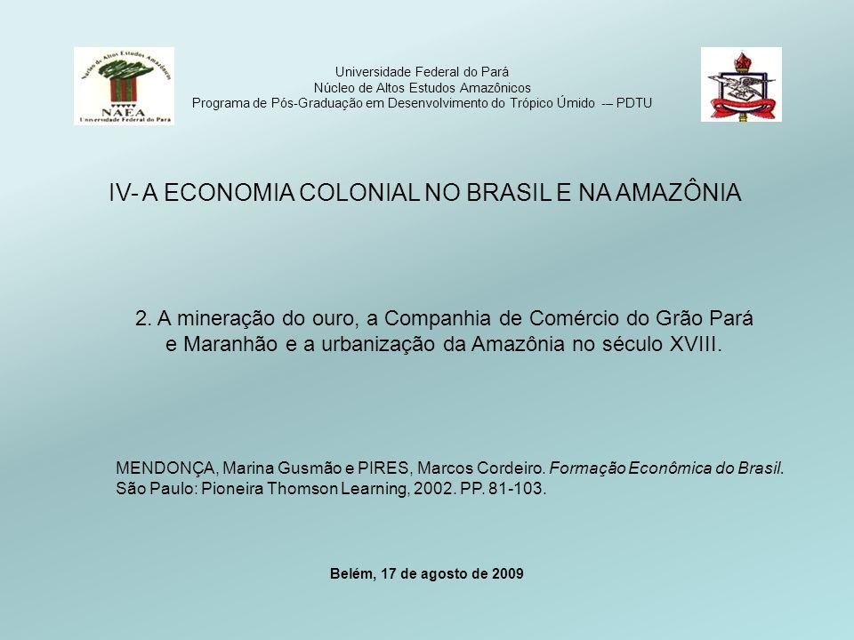 IV- A ECONOMIA COLONIAL NO BRASIL E NA AMAZÔNIA
