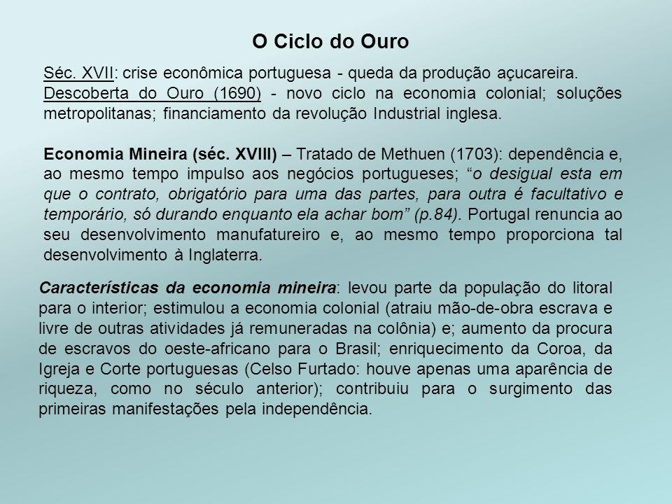 O Ciclo do Ouro Séc. XVII: crise econômica portuguesa - queda da produção açucareira.