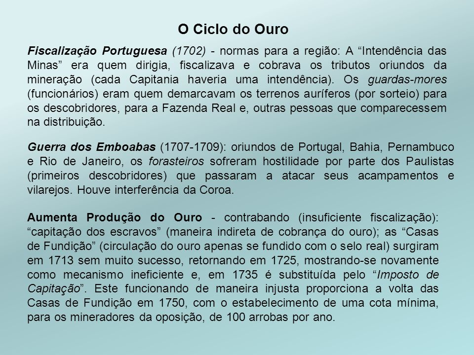 O Ciclo do Ouro