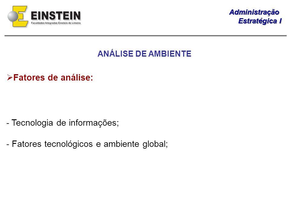 - Tecnologia de informações; - Fatores tecnológicos e ambiente global;