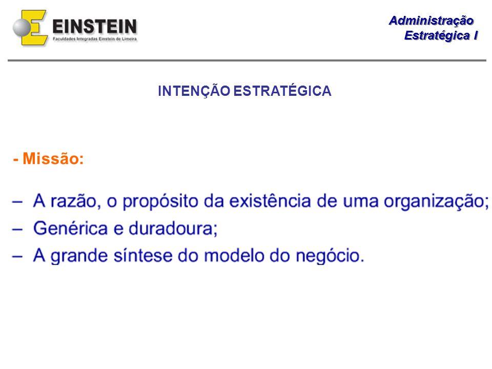 INTENÇÃO ESTRATÉGICA - Missão: