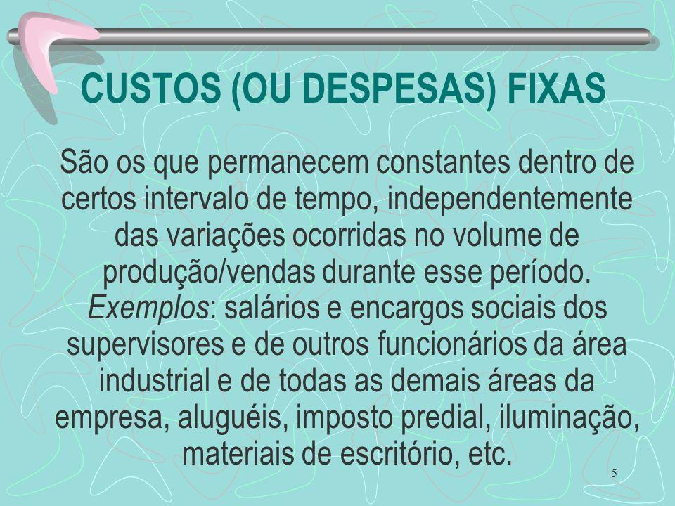 CUSTOS (OU DESPESAS) FIXAS