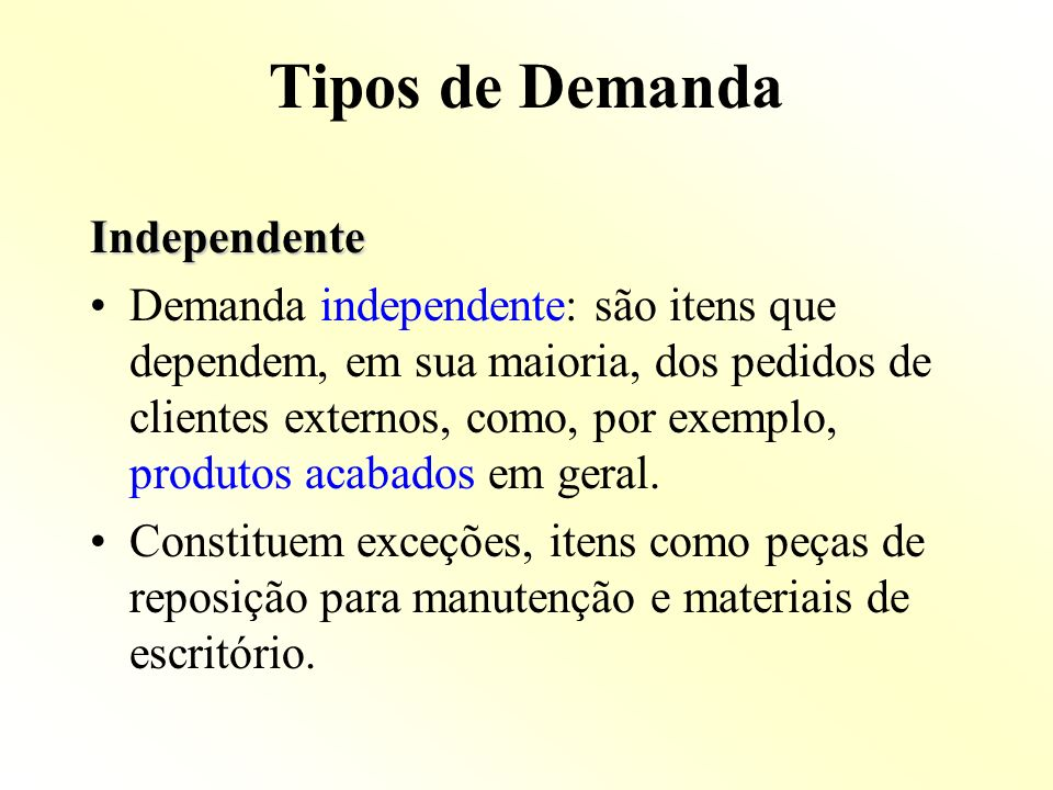 Tipos de Demanda Independente