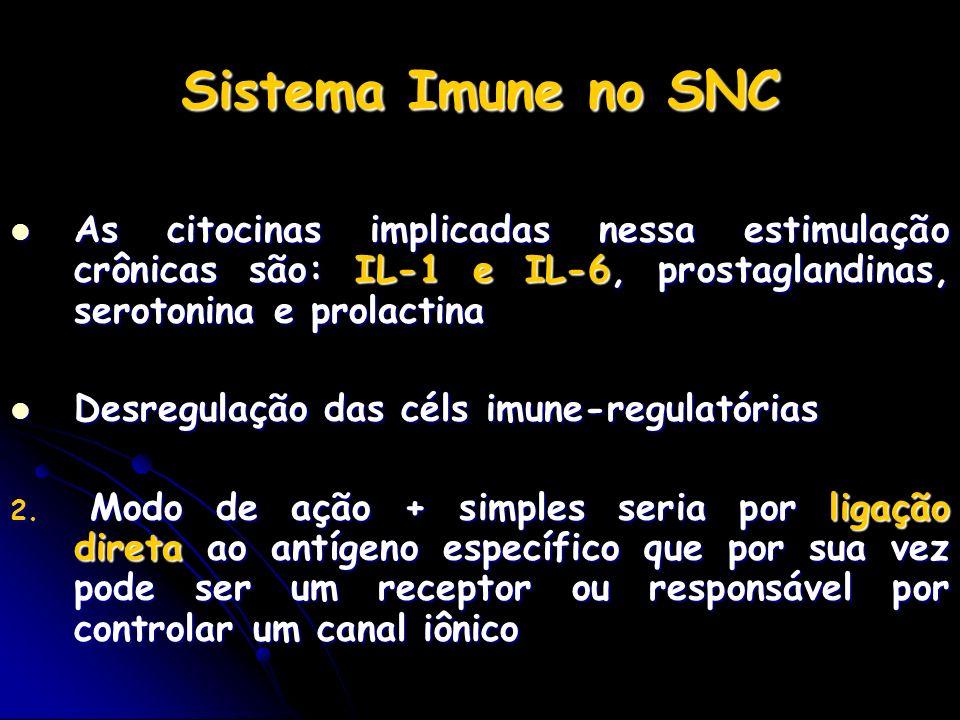 Sistema Imune no SNC As citocinas implicadas nessa estimulação crônicas são: IL-1 e IL-6, prostaglandinas, serotonina e prolactina.