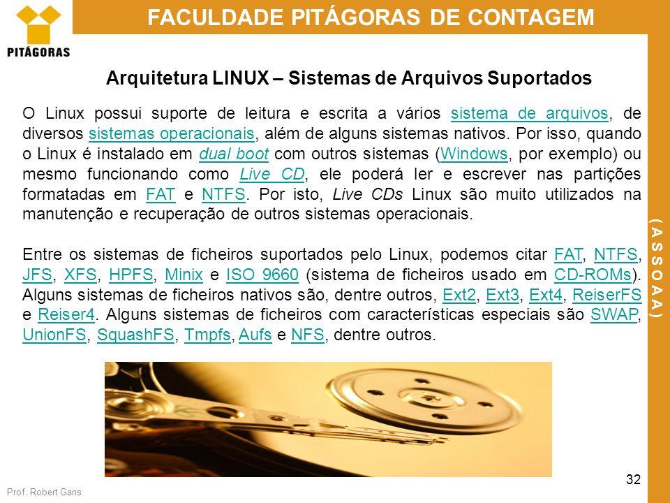 Arquitetura LINUX – Sistemas de Arquivos Suportados