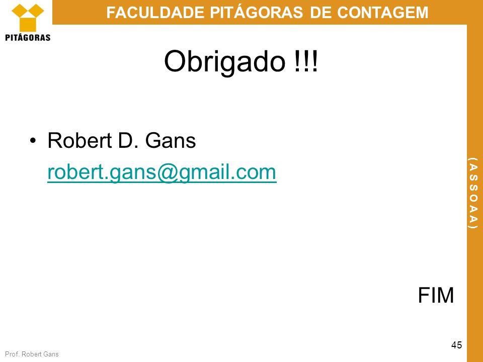 Obrigado !!! Robert D. Gans robert.gans@gmail.com FIM