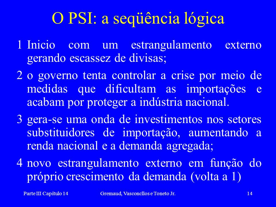 O PSI: a seqüência lógica