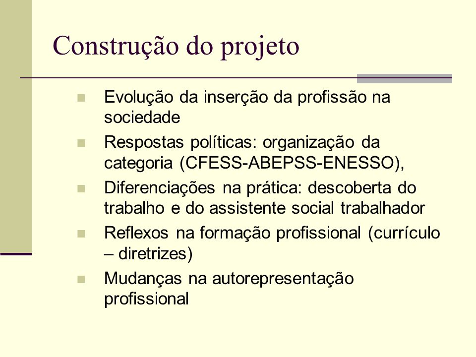 Construção do projeto Evolução da inserção da profissão na sociedade