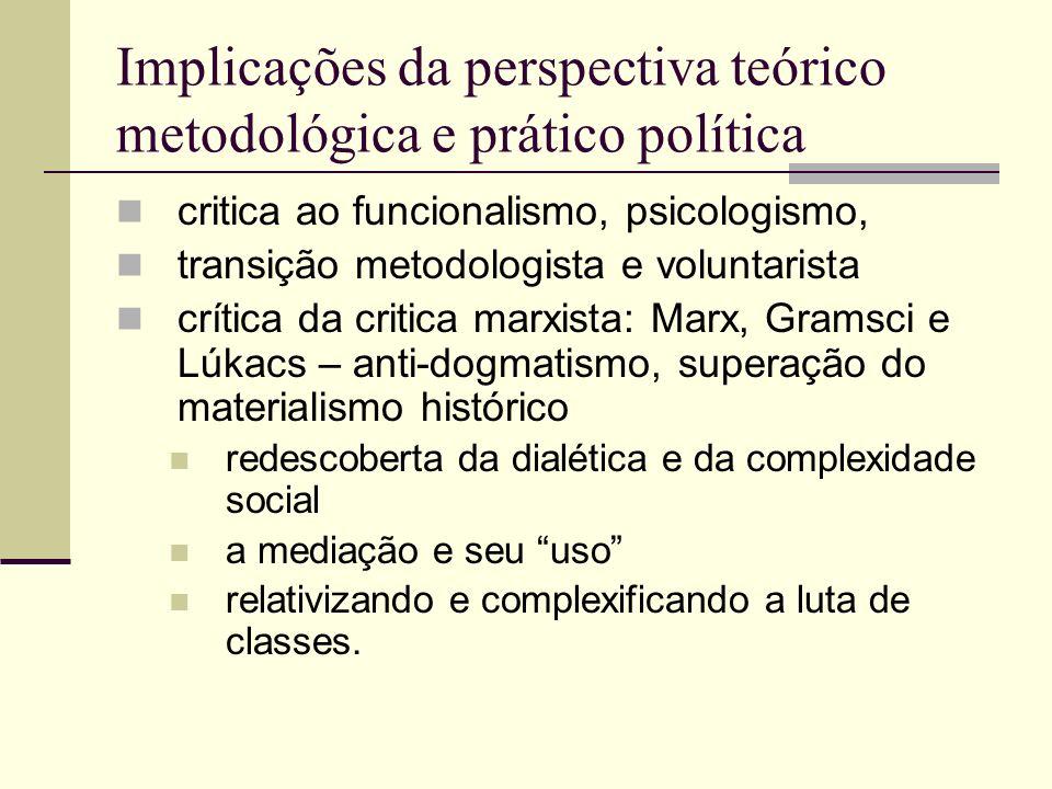 Implicações da perspectiva teórico metodológica e prático política