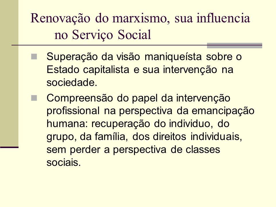 Renovação do marxismo, sua influencia no Serviço Social