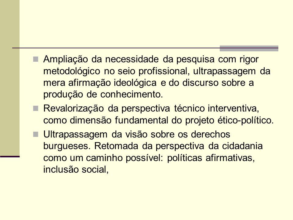 Ampliação da necessidade da pesquisa com rigor metodológico no seio profissional, ultrapassagem da mera afirmação ideológica e do discurso sobre a produção de conhecimento.