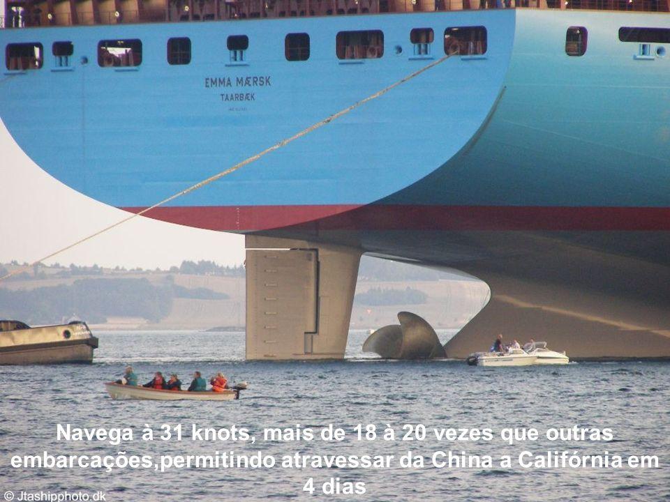 Navega à 31 knots, mais de 18 à 20 vezes que outras embarcações,permitindo atravessar da China a Califórnia em 4 dias