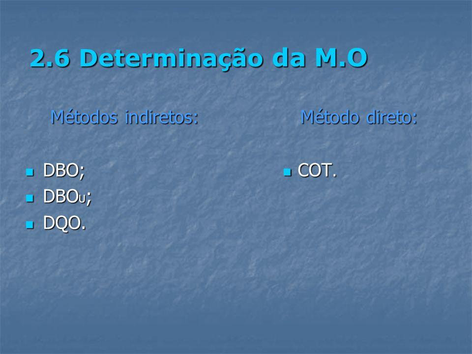2.6 Determinação da M.O Métodos indiretos: DBO; DBOU; DQO.