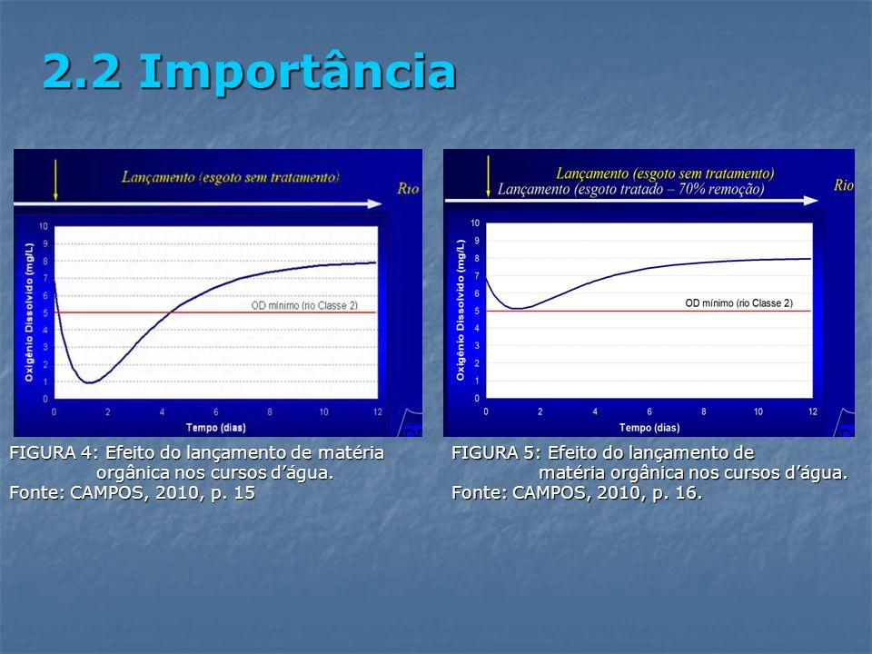 2.2 Importância FIGURA 4: Efeito do lançamento de matéria orgânica nos cursos d'água. Fonte: CAMPOS, 2010, p. 15.