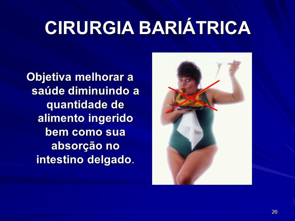 CIRURGIA BARIÁTRICA Objetiva melhorar a saúde diminuindo a quantidade de alimento ingerido bem como sua absorção no intestino delgado.