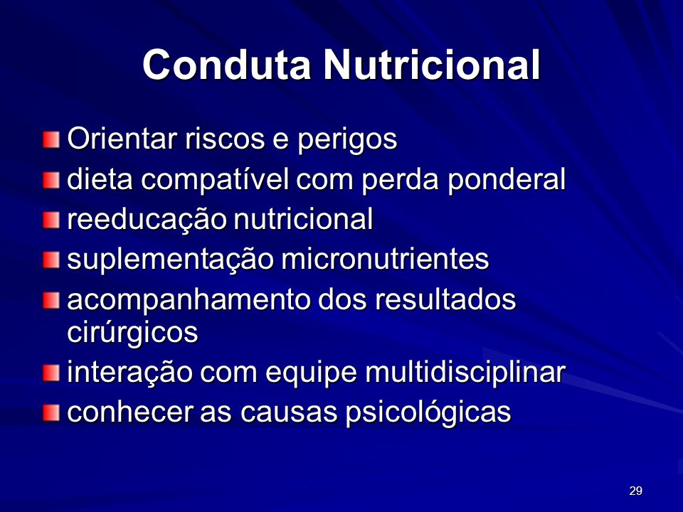 Conduta Nutricional Orientar riscos e perigos