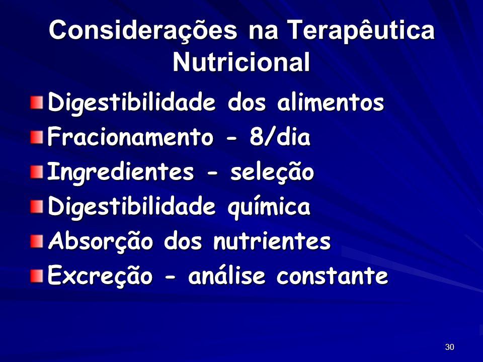Considerações na Terapêutica Nutricional