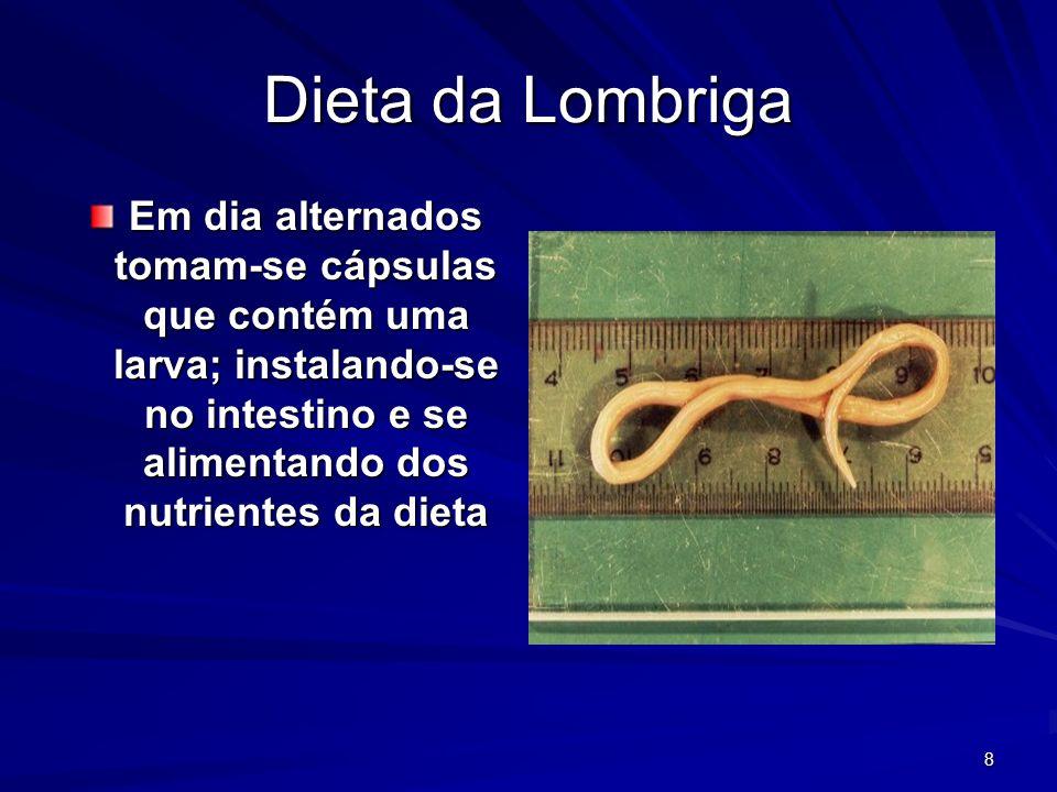 Dieta da Lombriga Em dia alternados tomam-se cápsulas que contém uma larva; instalando-se no intestino e se alimentando dos nutrientes da dieta.