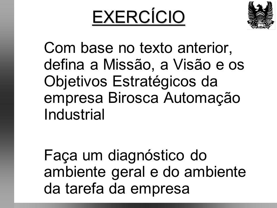 EXERCÍCIO Com base no texto anterior, defina a Missão, a Visão e os Objetivos Estratégicos da empresa Birosca Automação Industrial.