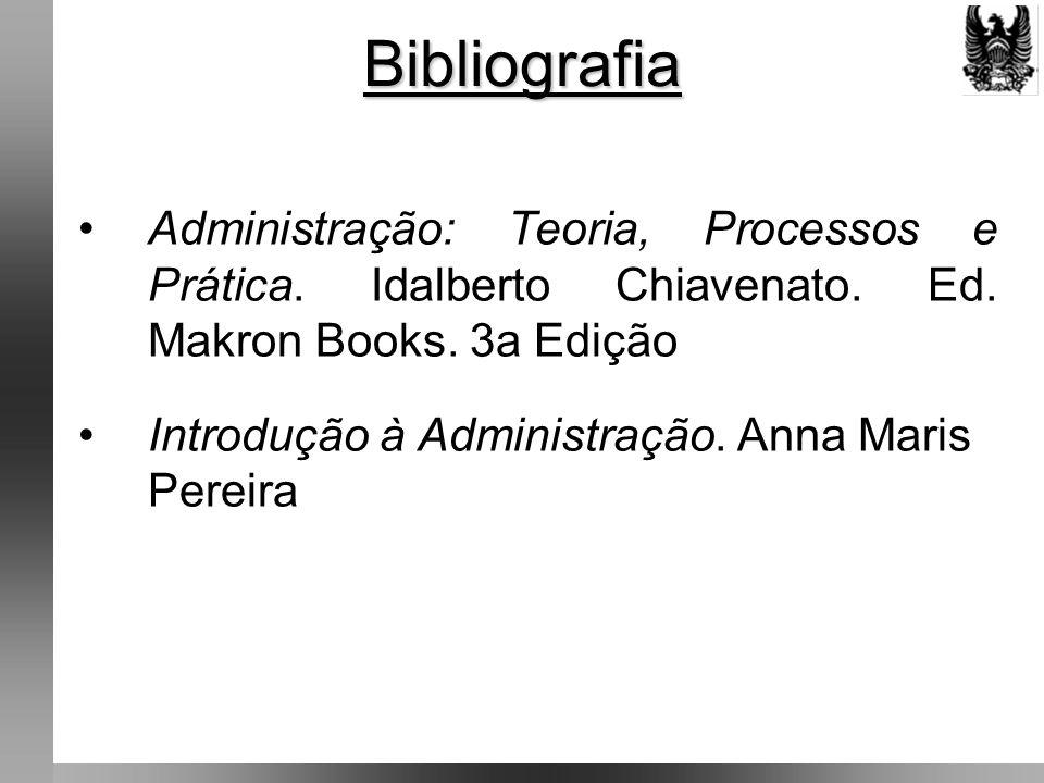 Bibliografia Administração: Teoria, Processos e Prática. Idalberto Chiavenato. Ed. Makron Books. 3a Edição.