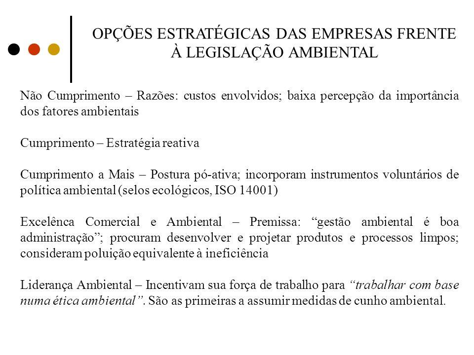 OPÇÕES ESTRATÉGICAS DAS EMPRESAS FRENTE À LEGISLAÇÃO AMBIENTAL