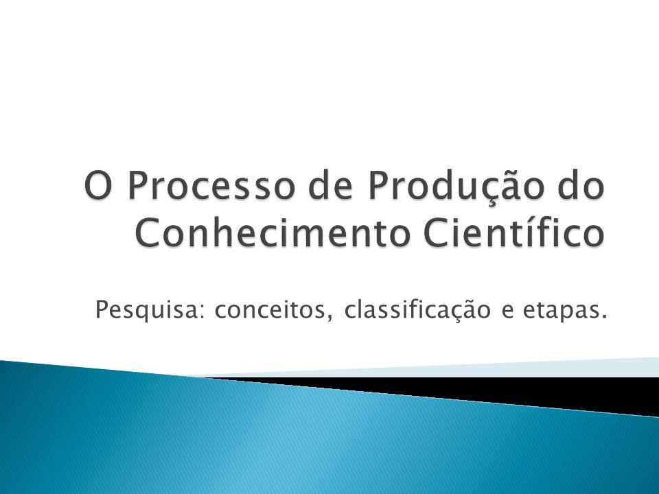 O Processo de Produção do Conhecimento Científico