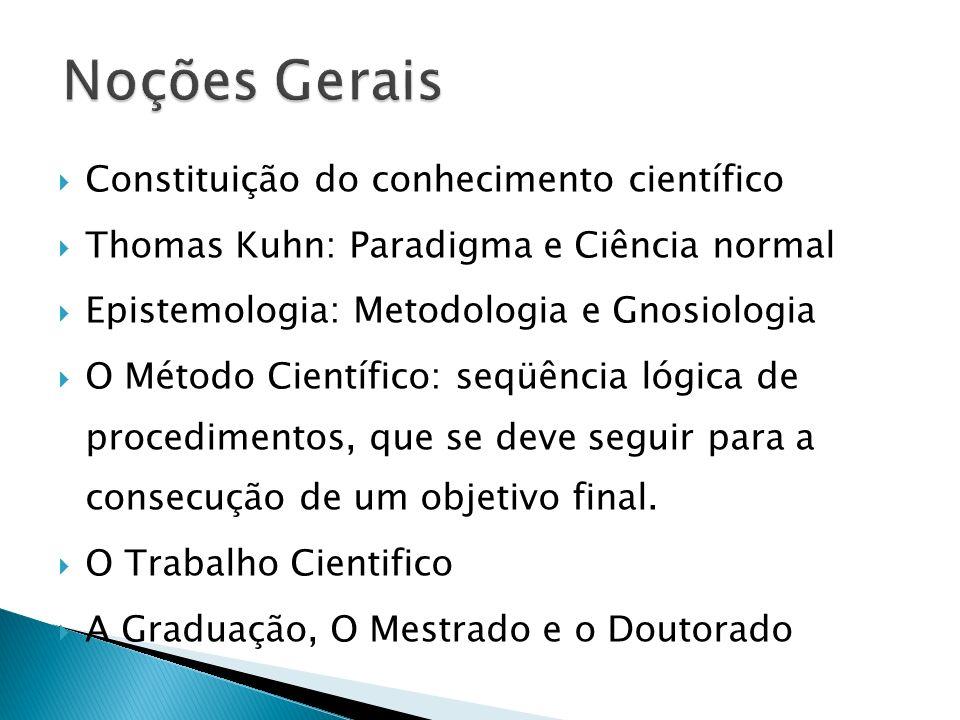 Noções Gerais Constituição do conhecimento científico