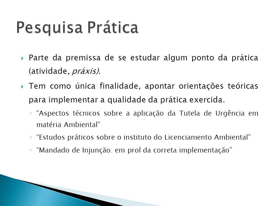 Pesquisa Prática Parte da premissa de se estudar algum ponto da prática (atividade, práxis).