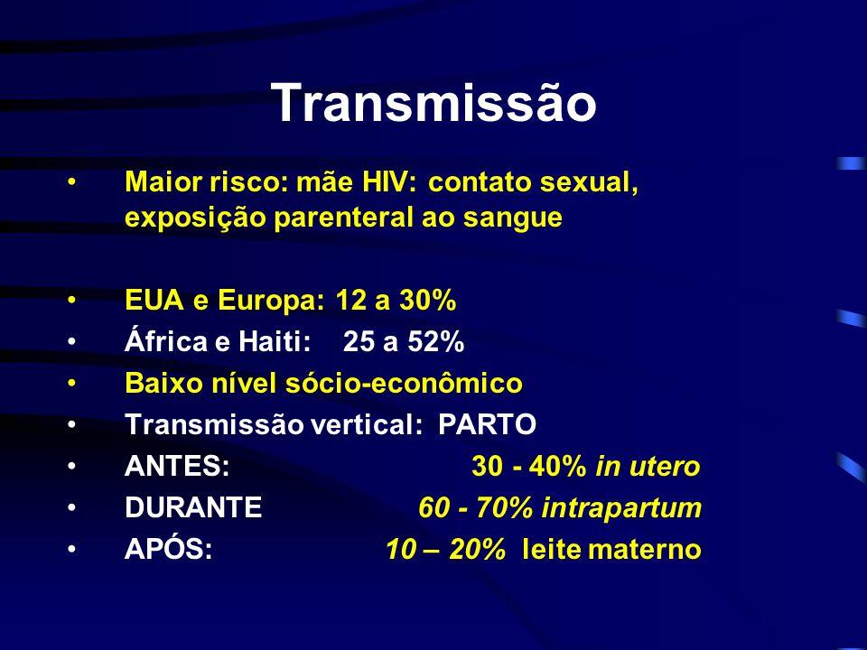 Transmissão Maior risco: mãe HIV: contato sexual, exposição parenteral ao sangue. EUA e Europa: 12 a 30%