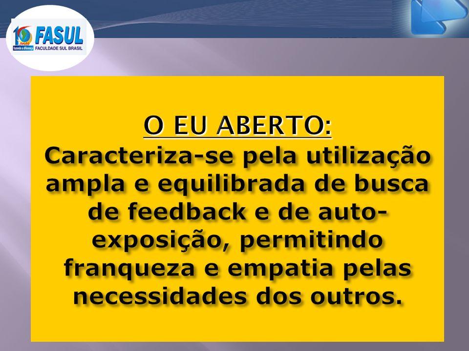 O EU ABERTO: Caracteriza-se pela utilização ampla e equilibrada de busca de feedback e de auto-exposição, permitindo franqueza e empatia pelas necessidades dos outros.