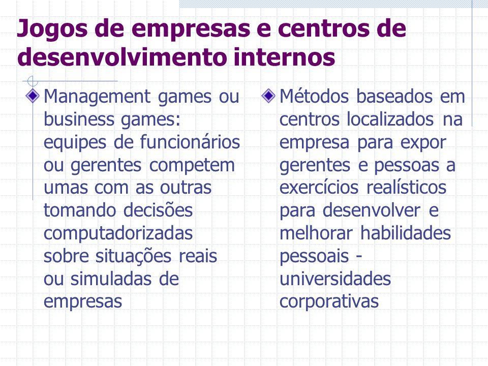 Jogos de empresas e centros de desenvolvimento internos