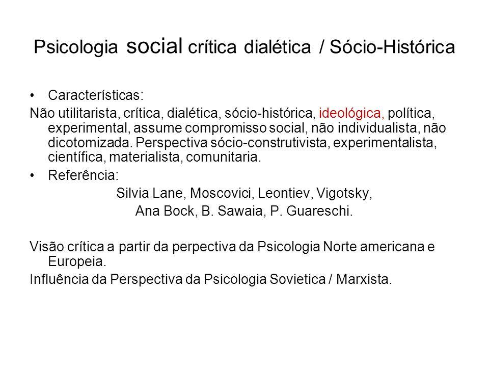 Psicologia social crítica dialética / Sócio-Histórica